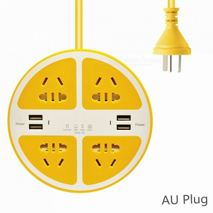 2500W Circle 5-Hole Charger Socket / Power Strip with 4 USB Ports for Household Appliance, Phone, Tablet - Yellow (AU Plug)Plugs &amp; Sockets<br>ColorYellowQuantity1 pieceMaterialABS Flameresistant MaterialFireproof MaterialYesTarget Country &amp; RegionAustraliaRate Voltage110-240VRated Current10 ARated Power2500 WCompatible PlugAU PlugGroundingYesOutlet8 setWith Switch ControlNoSurge Protection FunctionNoLightning Protection FunctionNoWith FuseNoCable Length160 cmPower AdapterAU PlugPacking List1 x Socket<br>