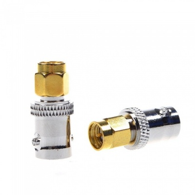 MYLB-Gold Tone SMA Male to Silver Tone BNC Female Connector Adapter (2PCS)