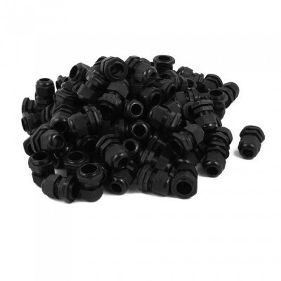 RXDZ Black PG13.5 Water Resistance Cable Gland Fixing Connector Joints Fastener (100 PCS)