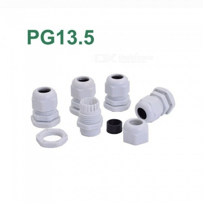 RXDZ White PG13.5 Water Resistance Cable Gland Fixing Connector Joints Fastener (100 PCS)