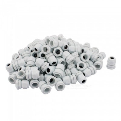 RXDZ PG11 Water Resistance Cable Gland Fixing Connector Joints Fastener - White (100 PCS)