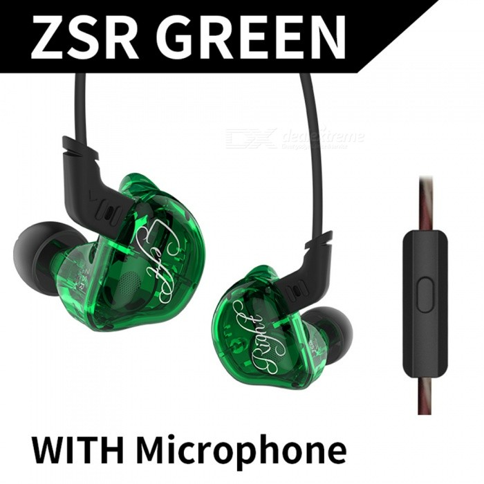 KZ ZSR Six Drivers HIFI Bass In-Ear Sports Earphone, Armature and Dynamic Hybrid Headset with Mic / Replaced Cable - GreenHeadphones<br>ColorGreenBrandKZModelZSRMaterialABS+TPEQuantity1 setConnection3.5mm WiredBluetooth VersionNoCable Length120 cmLeft &amp; Right Cables TypeEqual LengthHeadphone StyleBilateral,Earbud,In-Ear,Ear-hookWaterproof LevelIPX4Applicable ProductsUniversal,IPHONE 7,IPHONE 7 PLUSHeadphone FeaturesHiFi,Phone Control,Noise-Canceling,With Microphone,For Sports &amp; ExerciseSupport Memory CardNoSupport Apt-XNoChannels2.0SNR98dB±2dBSensitivity107dB/mWTHDFrequency Response10-40000HzImpedance22 ohmDriver Unit1DD+2BA hybrid driver unit * 2Battery TypeOthers,NOPacking List1 x KZ ZSR In-Ear Earphone6 x Pairs of earbud caps (1 set on earphone)<br>