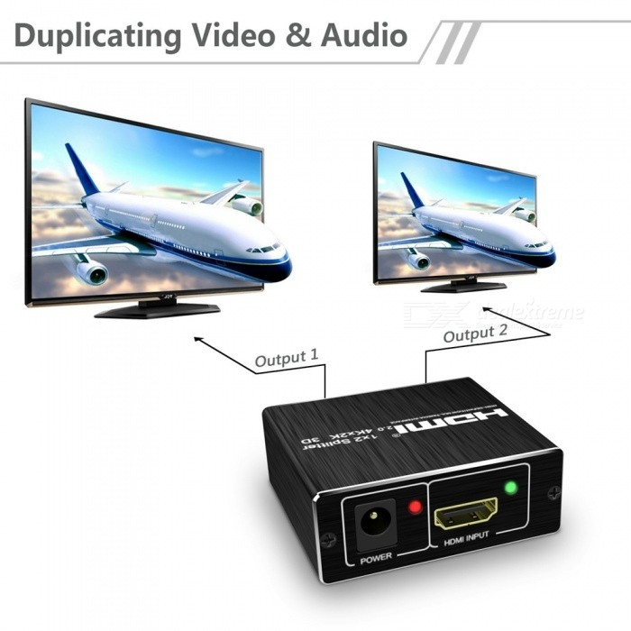 One In Two Out HD 4K 60HZ HDMI2.0 Splitter Switcher - US PlugAV Adapters And Converters<br>ColorBlack (US Plug)MaterialAluminum alloyQuantity1 setConnectorHDMIPower AdapterUS PlugPacking List1 x HDMI Splitter1 x Power supply1 x Manual<br>