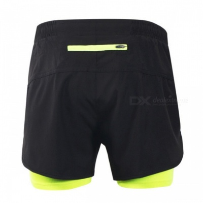 ARSUXEO Casual Loose Men's Running Shorts with Longer Liner for Active Training Exercise Sports Jogging - Green + Black (L)