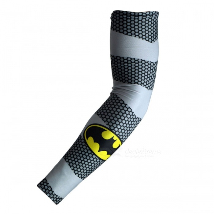 ARSUXEO Portable Flexible Batman Printed Pattern Armwarmer MTB Bike Bicycle Cycling Sleeves (1 Pair)
