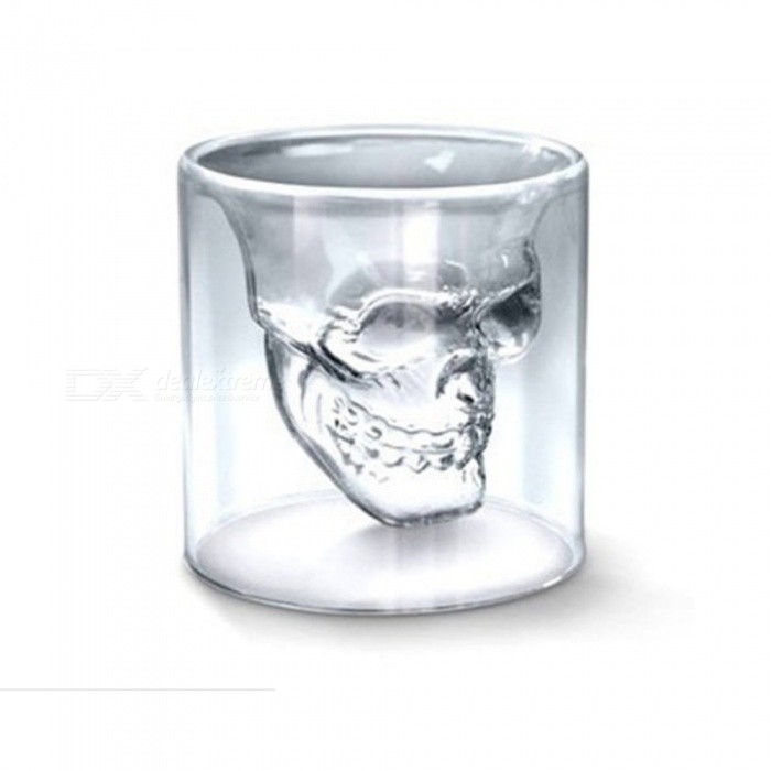ZHAOYAO Skull Carving Style 250ml Bar Glass Drinking Beer Mug Cups (5PCS)