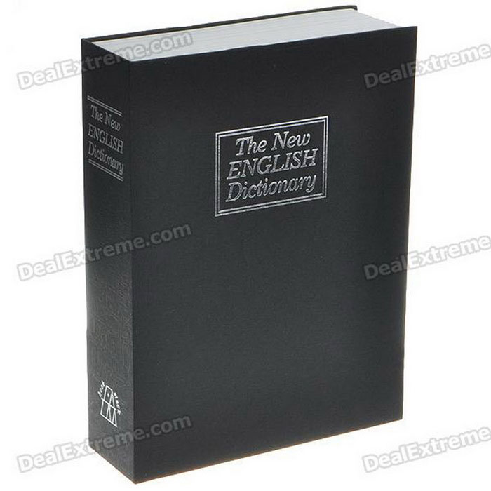 Libro encubierta Diccionario Safe Home Security Lock Box Cash - Tamaño Grande (Negro)