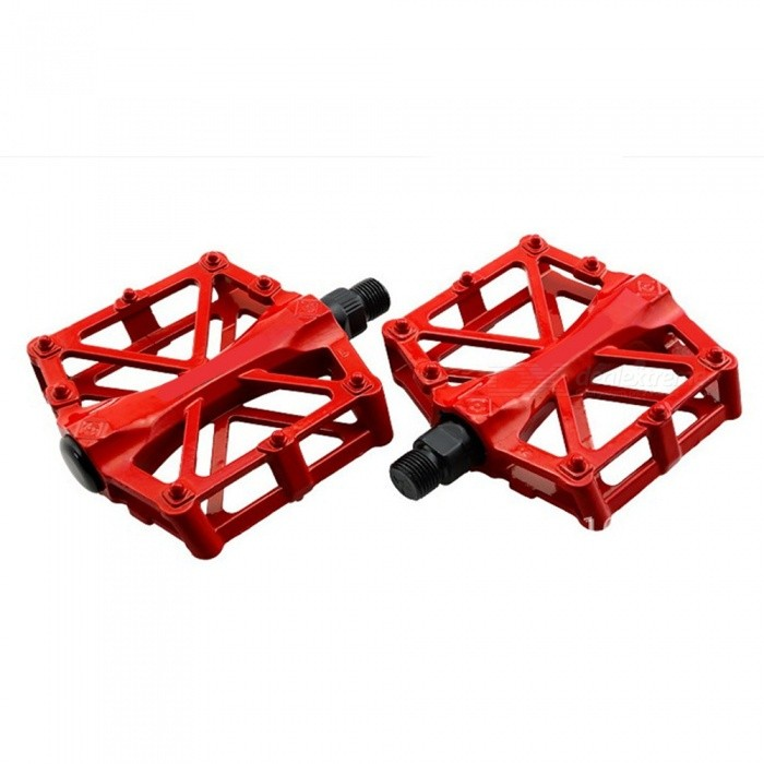 Super Light Anti-skid Aluminium Alloy Mountain Bike Pedals - Red (1 Pair)