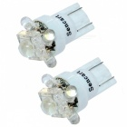 T10 0.25W 7-LED 6500K 30-Lumen White Light Bulbs for Car (DC 12V/Pair)