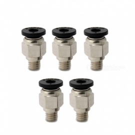 ZHAOYAO PC4-M6 5PCS Pneumatic Connectors Straight Air Fittings For Teflon Tube - Black + Silver