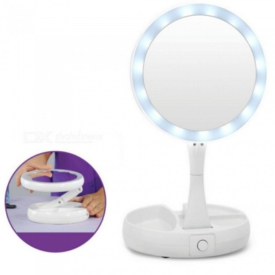 Professional Portable Foldable 10X LED Makeup Vanity Mirror, Health Beauty Adjustable Desktop Cosmetic Mirror