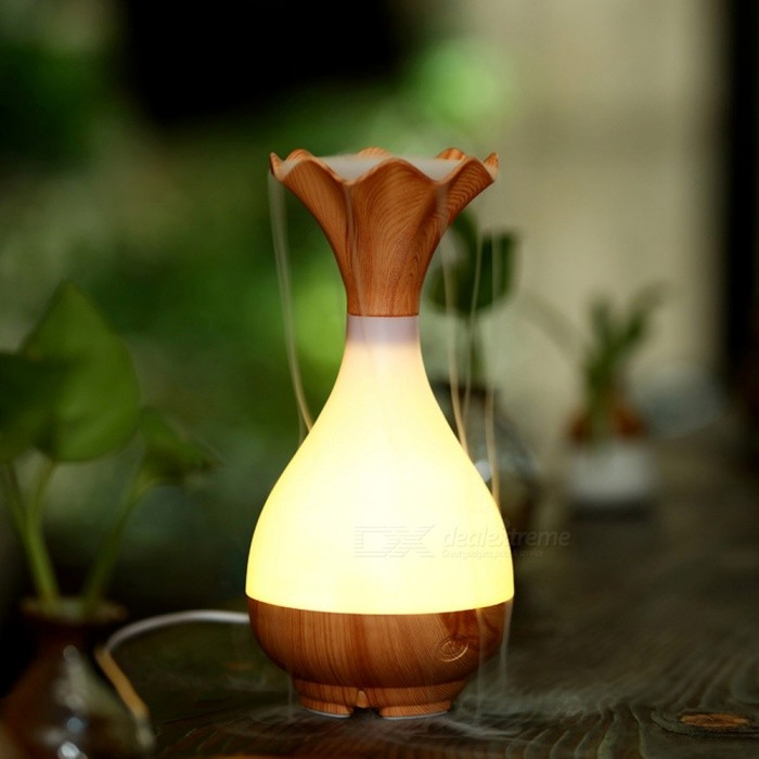LH102 Mini Ultrasonic USB Aromatherapy Atomizer Humidifier�� Air Purifier with LED Night Light - Light Wood Grain