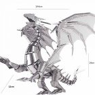ZHAOYAO Cool Flame Dragon Style 3D Creative Metal Handmade DIY Assembly Puzzles Model Toy - Silver