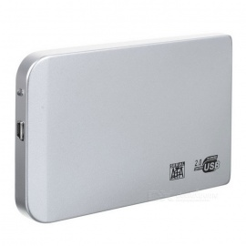 """2.5"""" SATA USB 2.0 HDD Enclosure with Leather Pouch - Silver"""