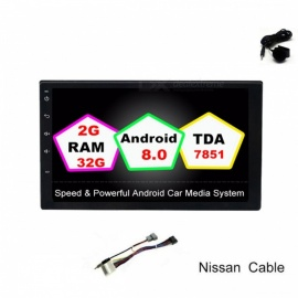 """Funrover Universal Android 8.0 2GB / 32GB Quad-Core 7"""" 2 Din Car Radio Player with GPS Function for Nissan Tiida Qashqai x-trail"""