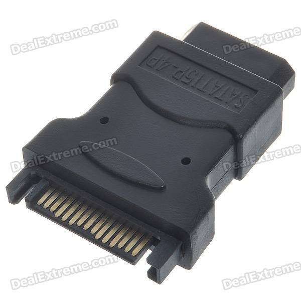 SATA 15-Pin Male To 4-Pin Female Power Adapter