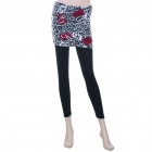Fashion Women Tight Leggings Pants with Leopard Skimpy Skirts (155~165cm/24~30inch)