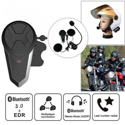 BT-S3 Motorcycle Helmet Bluetooth Intercom, 1000m Motorbike Interphone Headset - EU Plug