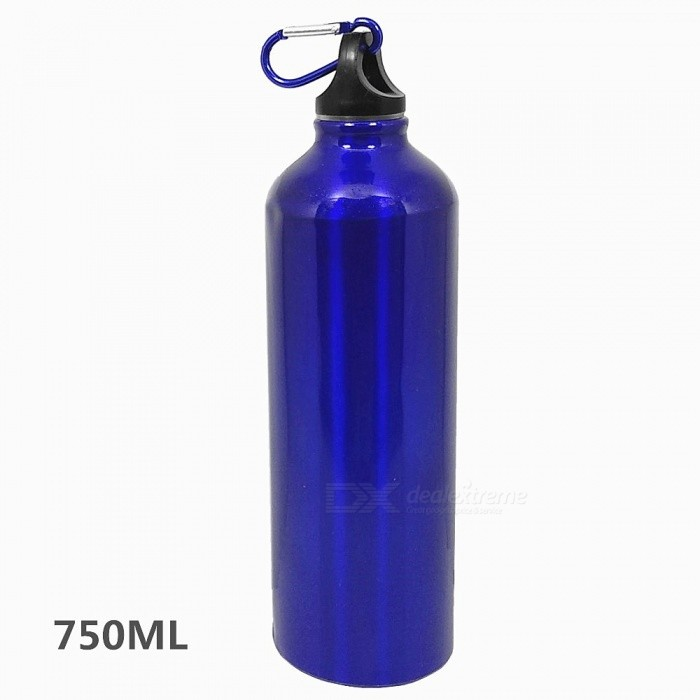 Aluminum Alloy 750ML Bicycle Water Bottle with Bag Hook for Outdoor Cycling / Camping / Sport - Blue