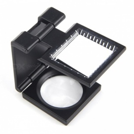 10X 28mm Folding Magnifier Magnifying Glass with Scale - Black