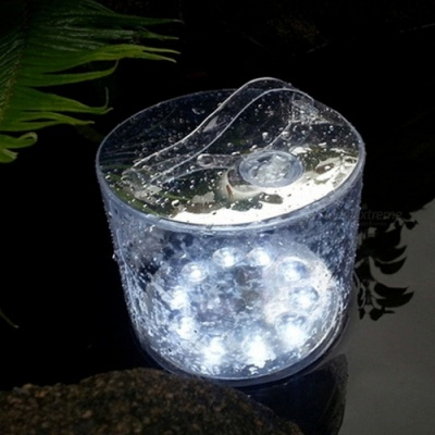 YWXLight IP65 Waterproof Cold White 10-LED Solar Powered Foldable Inflatable Light