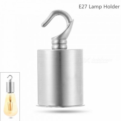 Stainless Steel + Zinc Alloy E27 LED Spiral Lamp Holder with Hook - Silver