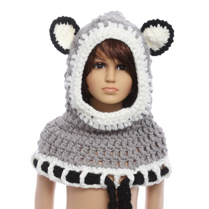 Fox Style Knitted Shawl Hat for Kids - Gray (One Size)