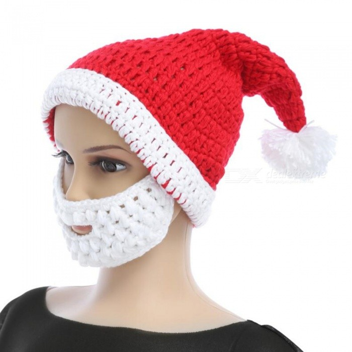 Knitted Acrylic Yarn Christmas Hat with Beard Shaped Mask for Kids - Red + White