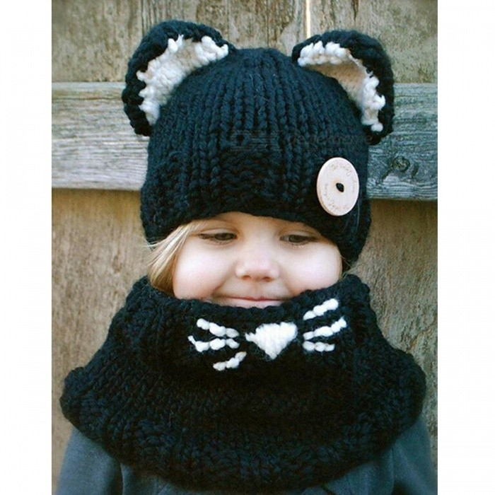 Fox Style Warm Knitted Acrylic Fabric Shawl Hat for Kids - Black