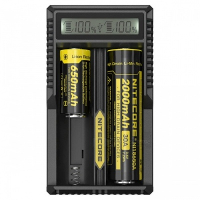 Nitecore UM20 Smart Charger with High Definition LCD Display for 18650 18490 18350 10440 Batterie - Black