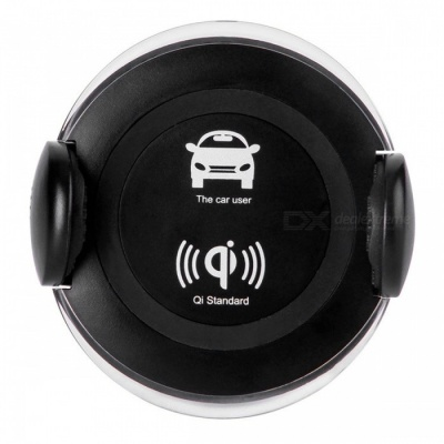 360 Degree Rotatable Car Mounted Wireless Charger with Phone Holder Function for IPHONE X / 8 / 8 Plus - Black