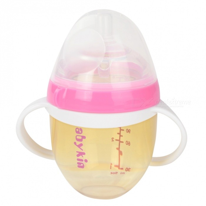 Babykin 180ML PPSU Thicken Breast Tactility Feeder Big Mouth Silicone Baby Milk Bottle with Handle - Pink