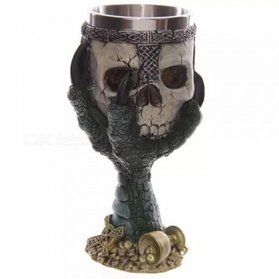 ZHAOYAO Creative Dragon Claw Holding Skull Style 200ml 3D Stainless Steel Beer Cups Goblets - Green (2 PCS)