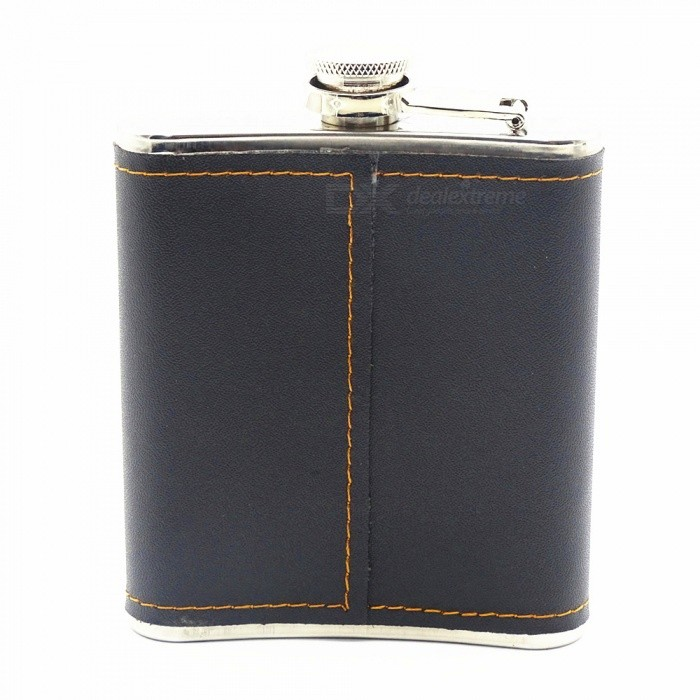 200ML Outdoor Carry-on Portable Stainless Steel Flagon Flask - Black + Silver