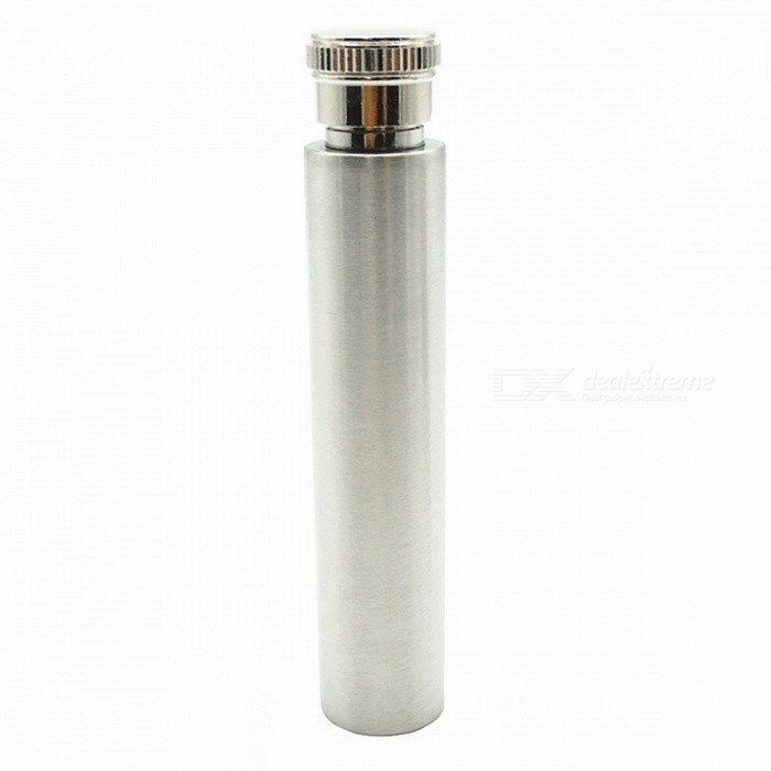 30ML Outdoor Carry-on Portable Cigar Tube Shape Stainless Steel Polished Flagon Flask - Silver
