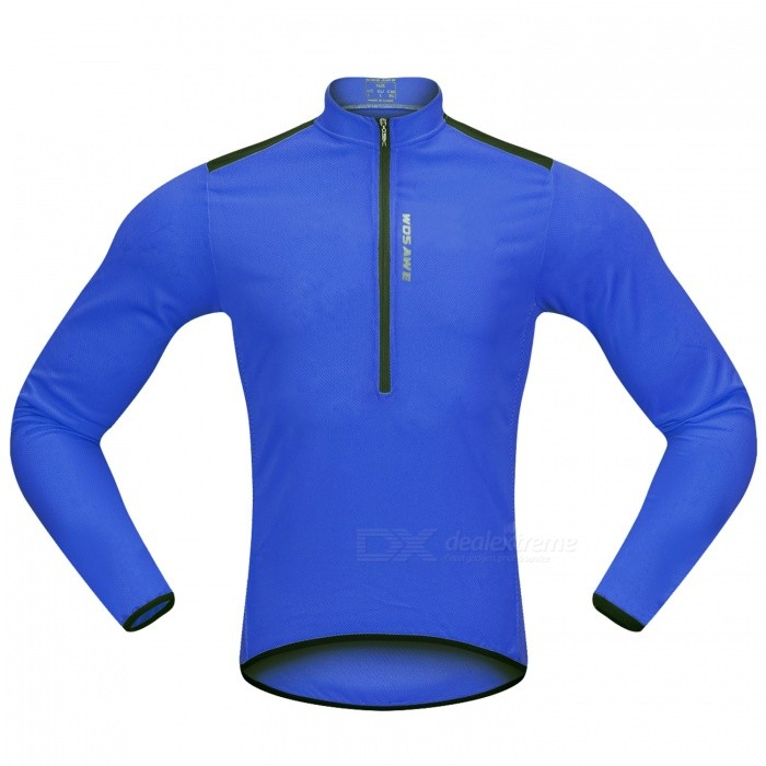 WOSAWE Hlaf Zippered Long Sleeves Cycling Jersey Sports Casual Jersey - Blue (M)