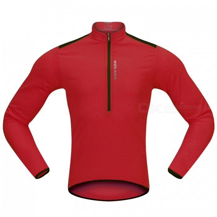WOSAWE Hlaf Zippered Long Sleeves Cycling Jersey Sports Casual Jersey - Red (XXXL)