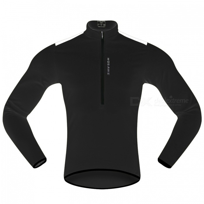 WOSAWE Hlaf Zippered Long Sleeves Cycling Jersey Sports Casual Jersey - Black (M)