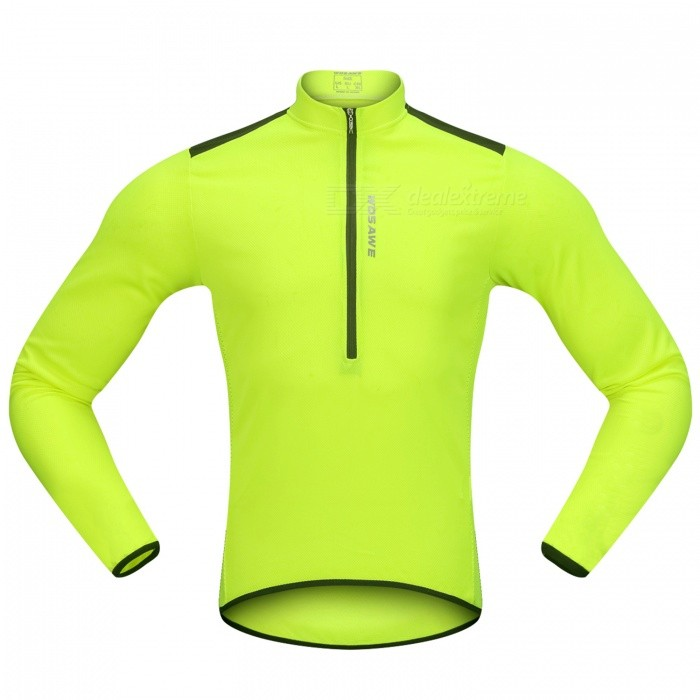 WOSAWE Hlaf Zippered Long Sleeves Cycling Jersey Sports Casual Jersey - Fluorescent Green (XXL)