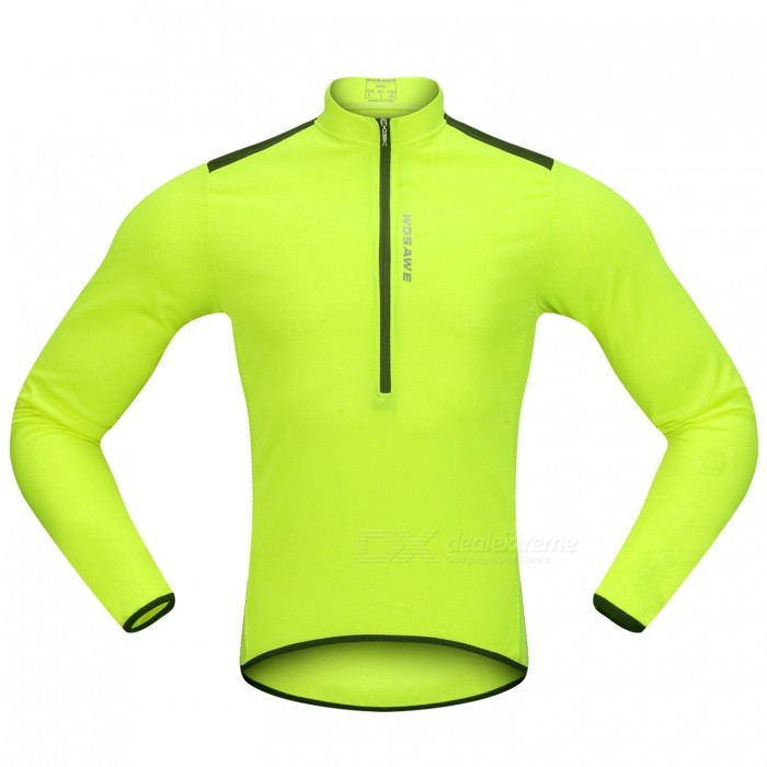 WOSAWE Hlaf Zippered Long Sleeves Cycling Jersey Sports Casual Jersey - Fluorescent Green (XL)