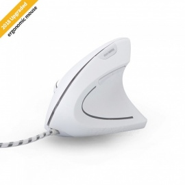 MODAO Ergonomic High Precision Optical Vertical USB Wired Mouse with Adjustable DPI - White