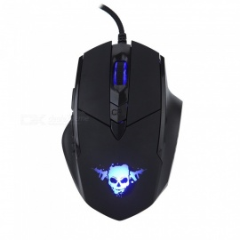 6-Button USB Wired Gaming Mouse with Breathing 7-LED Light - Black