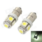 BA9S 1.2W 70-Lumen 6500K 5-SMD LED Car White Light Bulbs (Pair/DC 12V)