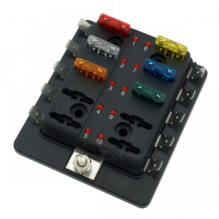 10 way blade fuse box led indicator for blown fuse. Black Bedroom Furniture Sets. Home Design Ideas