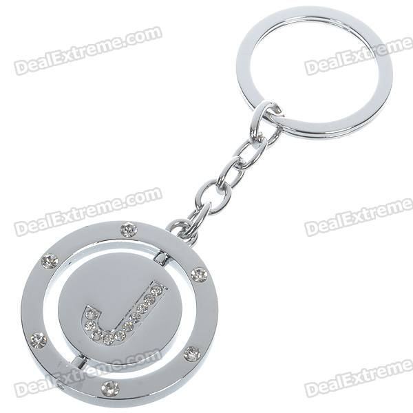Stainless Steel Keychain with English Letter - J