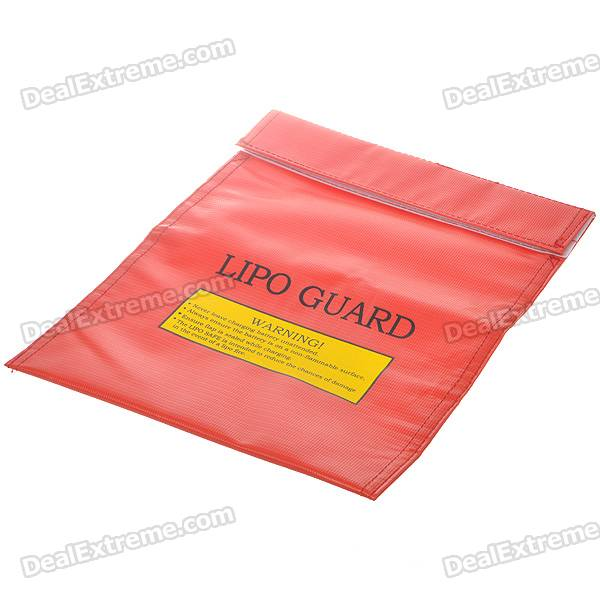 Fireproof LiPo Lithium Polymer Battery Safety Guard Bag - Large SizeStorage Supplies<br>Form  ColorRedPacking List<br>