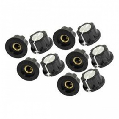 ZHAOYAO 15mm Top 6mm Shaft Insert Potentiometer Rotary Knobs - Black (5 PCS)