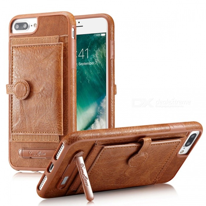 PU Leather Case with Card Slots for IPHONE 6 Plus /6S Plus /7 Plus /8 Plus - Brown