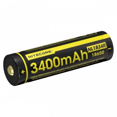 Nitecore NL1834R 3400mAh Micro-USB Rechargeable 18650 Li-ion Battery with Charging Port