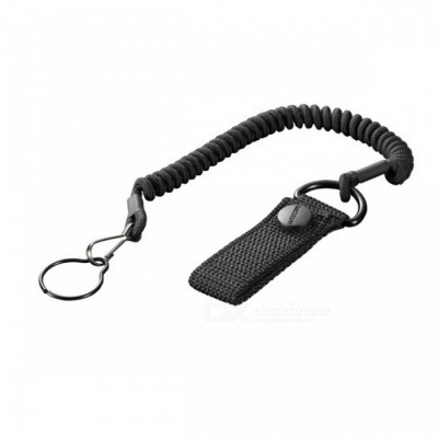 Nitecore NTL20 Flashlight Accessory Tactical Lanyard Punched Stainless Steel Ring Safety Rope - Black